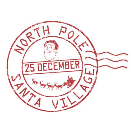 Polo nord, timbro di gomma del grunge del villaggio di Santa su fondo bianco, illustrazione di vettore Vettoriali