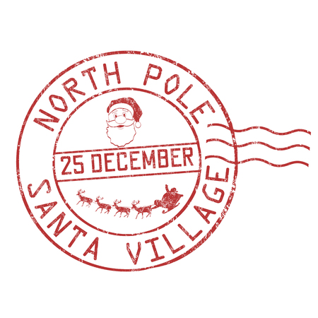 North Pole, Santa village grunge rubber stamp on white background, vector illustration  イラスト・ベクター素材