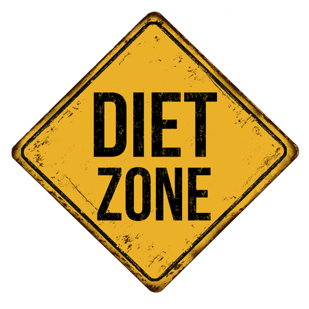 Diet zone vintage rusty metal sign on a white background, vector illustration