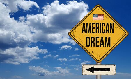 American dream metallic vintage sign over blue sky with clouds Stock Photo