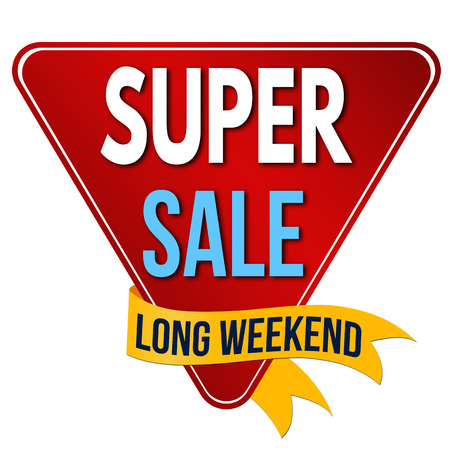 Super sale label or sticker on white background, vector illustration Stock Illustratie