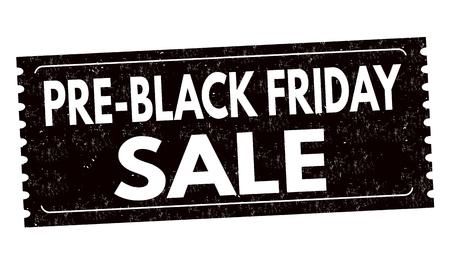 Pre black friday sale label or sticker on white background, vector illustration  イラスト・ベクター素材