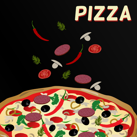 Pizza and ingredients on black background, vector illustration