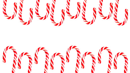 Double border with Christmas candy canes on white background