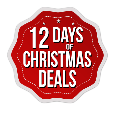 12 days of Christmas deals label or sticker on white background, vector illustration