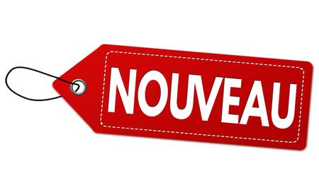 Nieuw op Frans taal (Nouveau) etiket of prijskaartje op witte achtergrond, vectorillustratie