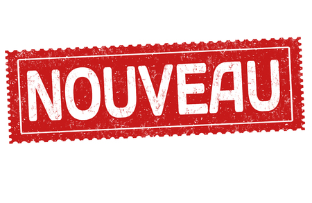 New on french language ( Nouveau ) grunge rubber stamp on white background, vector illustration