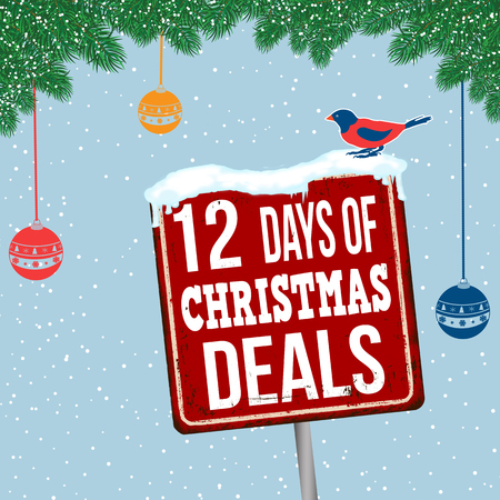 12 days of Christmas deals vintage rusty metal sign on christmas theme background, vector illustration