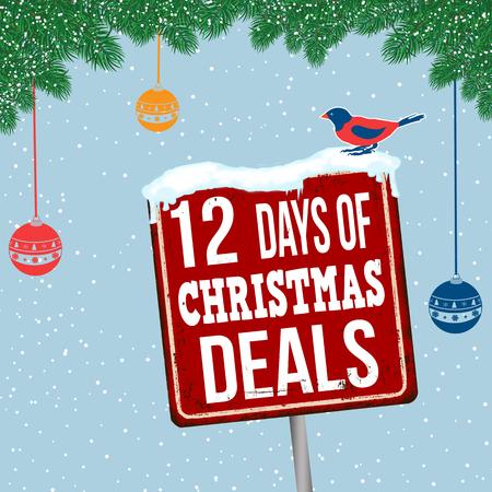 12 jours de Noël offres vintage signe de métal rouillé sur fond de thème de Noël, illustration vectorielle