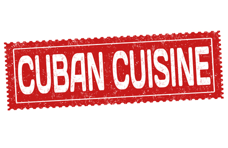 Cuban cuisine grunge rubber stamp on white background, vector illustration