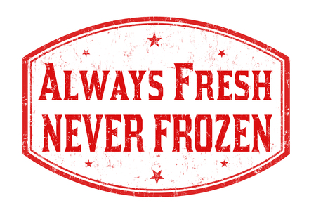 常に新鮮な白い背景、ベクトル イラストのスタンプを決して冷凍グランジ。