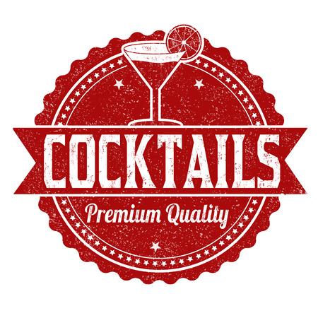 Cocktails grunge rubber stamp on white background, vector illustration