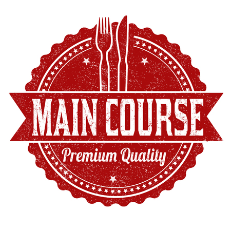 Main course grunge rubber stamp on white background, vector illustration