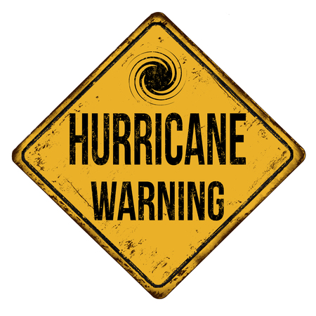 Hurricane warning, vintage rusty metal sign on a white background, vector illustration