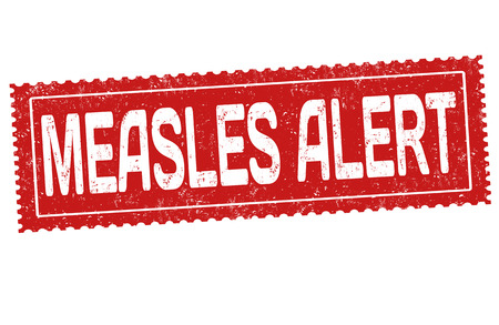 Measles alert grunge rubber stamp on white background, vector illustration