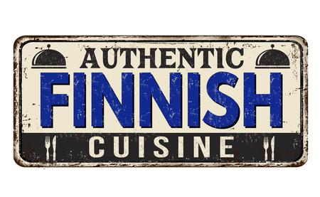 Panneau en métal rouillé vintage de cuisine finlandaise authentique sur fond blanc, illustration vectorielle