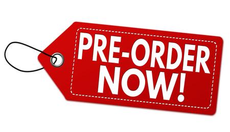 Preordini ora l'etichetta o il prezzo da pagare su fondo bianco, illustrazione di vettore Archivio Fotografico - 91298125
