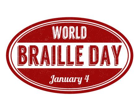 World braille day grunge rubber stamp on white background, vector illustration