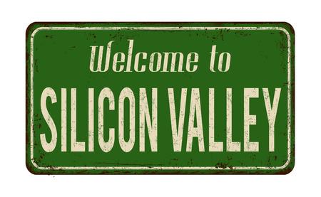 Bienvenido a la muestra de metal oxidado vintage de Silicon Valley sobre un fondo blanco, ilustración vectorial Foto de archivo - 91438811