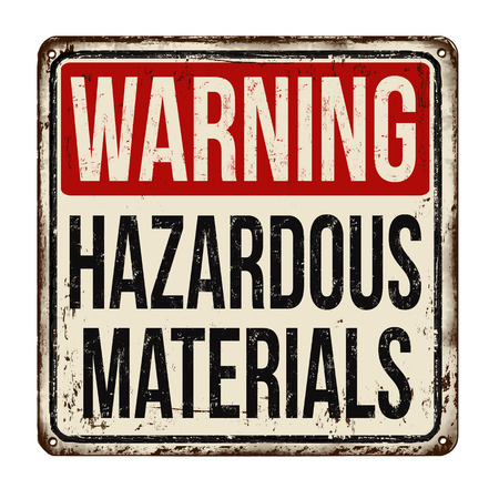 Hazardous materials vintage rusty metal sign on a white background, vector illustration