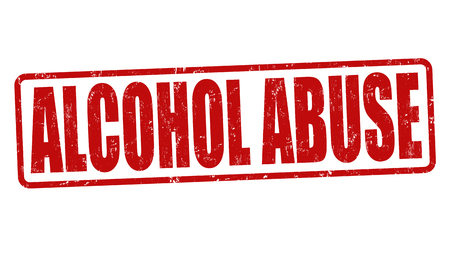 Alcohol abuse grunge rubber stamp on white background, vector illustration