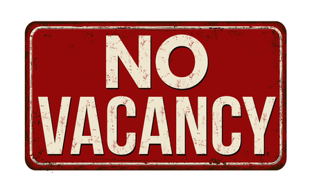 No vacancy vintage rusty metal sign on a white background, vector illustration.