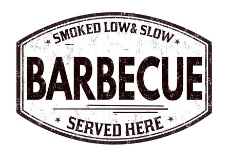 Barbecue grunge rubber stamp on white background, vector illustration. Illustration