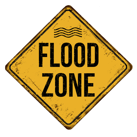 Flood zone vintage rusty metal sign on a white background, vector illustration Ilustrace