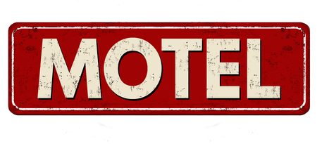 Motel vintage rusty metal sign on a white background, vector illustration