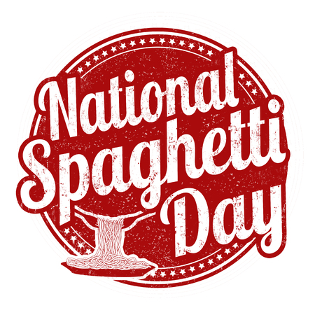 National spaghetti day grunge rubber stamp on white background, vector illustration.