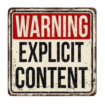 경고 명시 적 콘텐츠 흰색 배경에, 벡터 일러스트 레이 션 빈티지 녹슨 금속 기호.