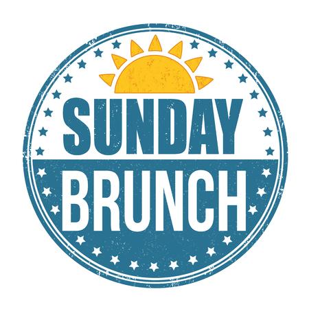 Sunday brunch grunge rubber stamp on white background, vector illustration.