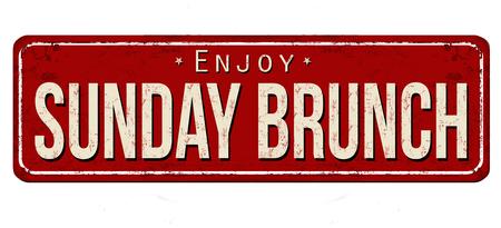 Sunday brunch vintage rusty metal sign on a white background, vector illustration 일러스트