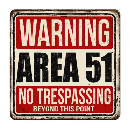 zone d & # 39 ; avertissement 51 métal rouillé signe métal sur un fond blanc . illustration vectorielle Vecteurs