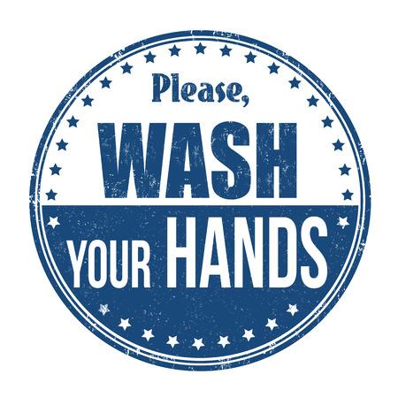 Proszę umyć ręce pieczątka grunge na białym tle, ilustracji wektorowych.