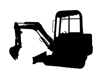 Silhouette of the excavator on white background, vector illustration.