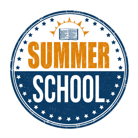 Summer school grunge rubber stamp on white background, vector illustration.