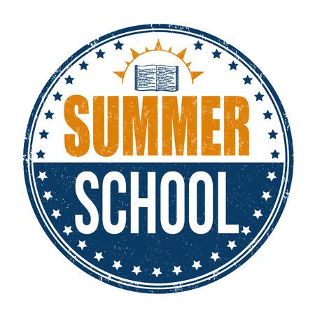 Summer school grunge rubber stamp on white background, vector illustration.