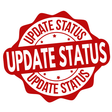 Update status grunge rubber stamp on white background, vector illustration.