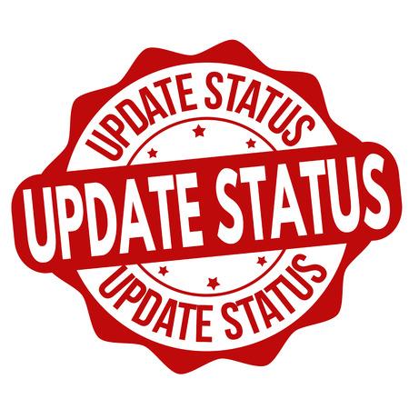 Update status grunge rubber stamp on white background, vector illustration. Stock Illustratie