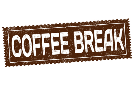 Coffee break grunge rubber stamp on white background vector illustration.