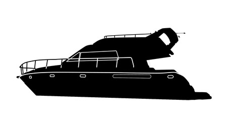 Luxury motorboat silhouette on white background, vector illustration