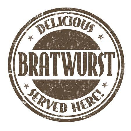 Bratwurst grunge rubber stamp on white background, vector illustration.