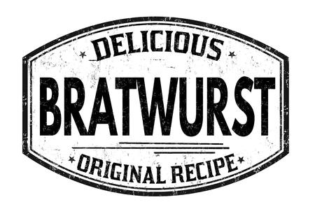 Bratwurst grunge rubber stamp on white background, vector illustration Ilustração
