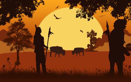 Native american indian sylwetki na piękny pomarańczowy zachód słońca, ilustracji wektorowych