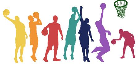 Silhueta de jogadores de basquete em diferentes posições e cores sobre fundo branco, ilustração vetorial