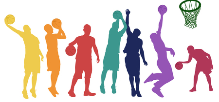 Basketball players silhouette in different positions and colors on white background, vector illustration Illustration