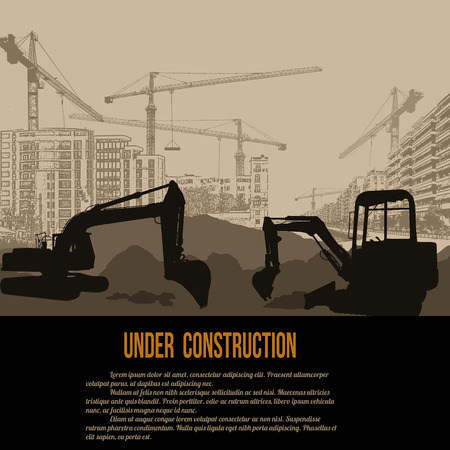 Under construction concept with excavator, buildings and cranes, vector illustration