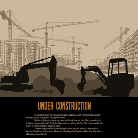 In aanbouw concept met graafwerktuig, gebouwen en kranen, vectorillustratie