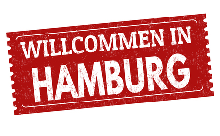 Welcome to Hamburg ( in german language )grunge rubber stamp on white background, vector illustration   イラスト・ベクター素材